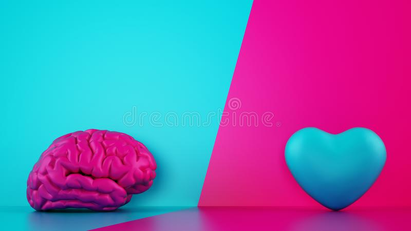 Comparison between reason and feeling. Brain and heart on a two tone background. 3D Rendering royalty free stock photography