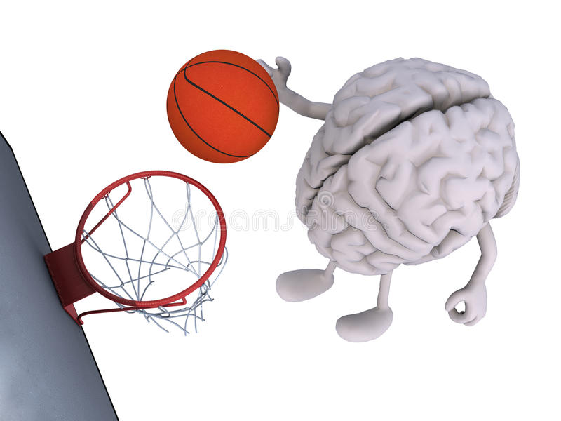Brain with his arms and legs playing basketball royalty free illustration