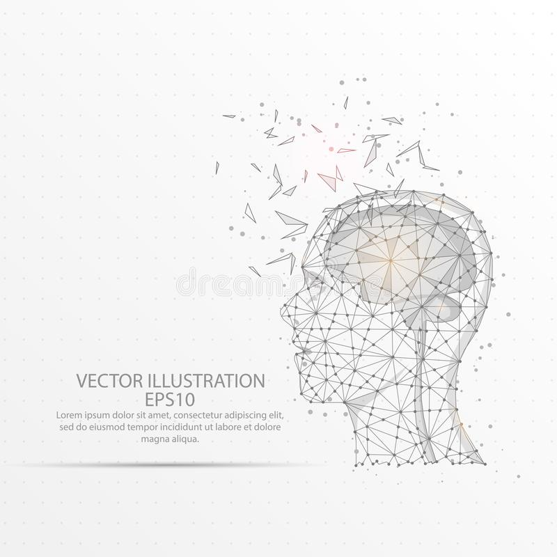 Brain with human head low poly wire frame on white background. Brain with human head abstract mesh line and composition digitally drawn starry sky or space in vector illustration