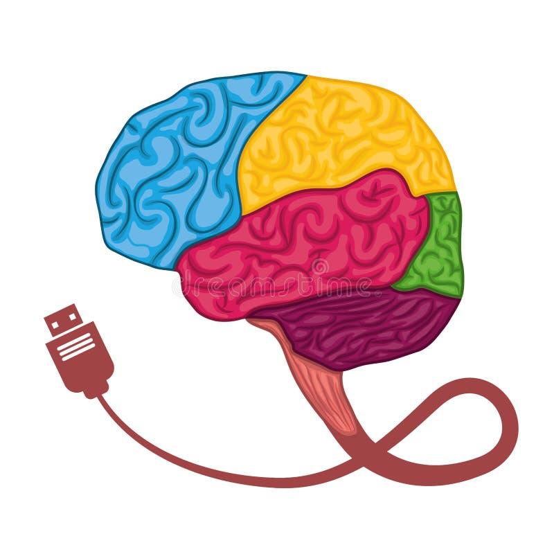 Brain Icon conception d'organe humain Dessin de vecteur illustration stock