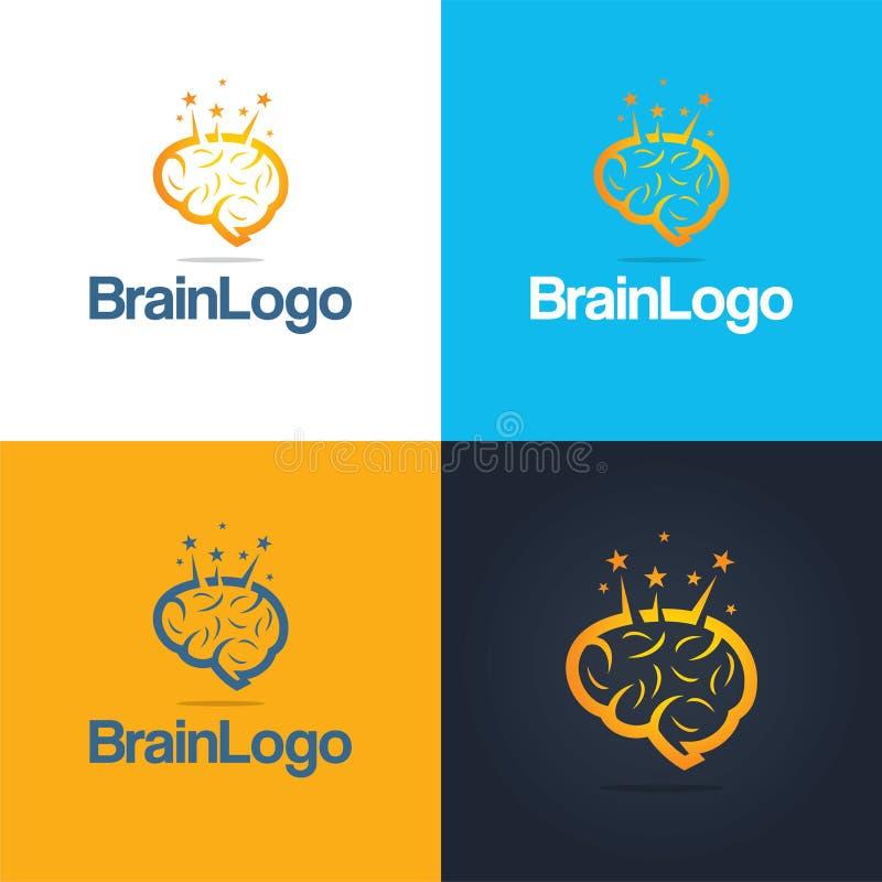 Brain Icon en Embleem stock illustratie