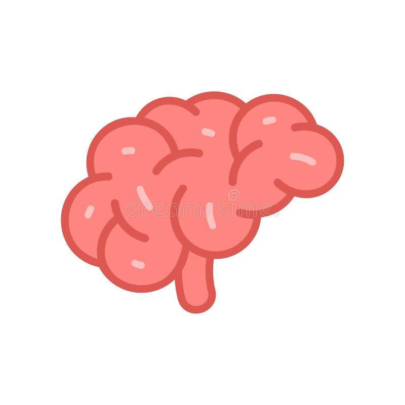 Brain Icon Estilo liso ilustração do vetor