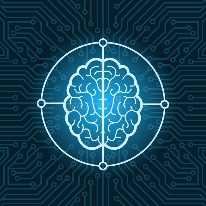 Brain Icon Over Blue Circuit Chip Background Connection Concept ilustración del vector