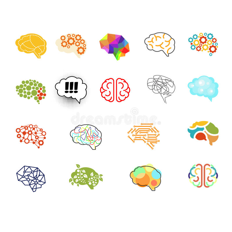 Brain Icon Set, grupo da ilustração do vetor ilustração do vetor