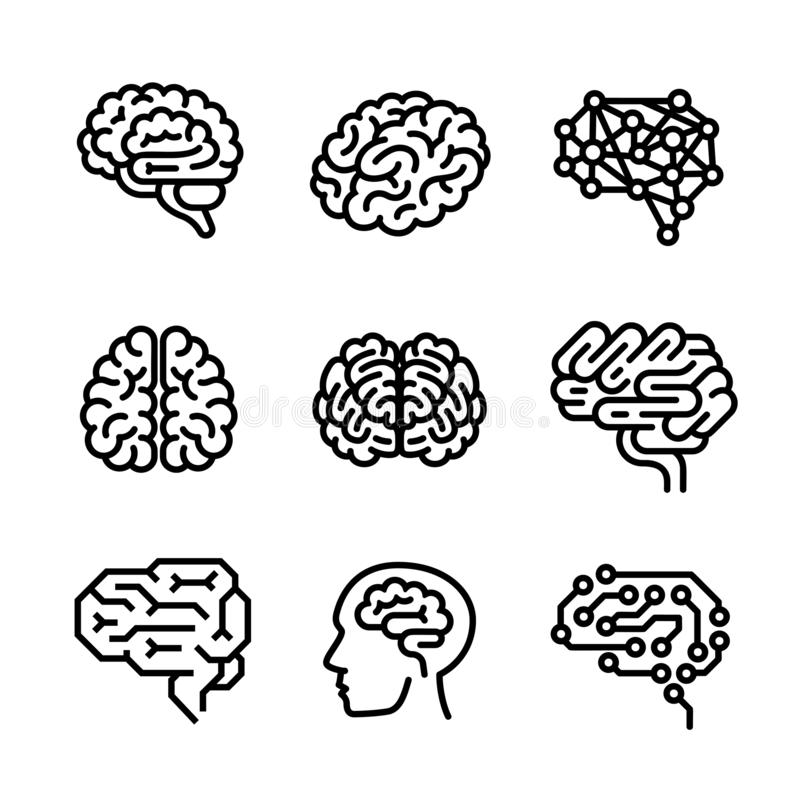 Brain icon set, outline style. Brain icon set. Outline set of brain icons for web design isolated on white background vector illustration
