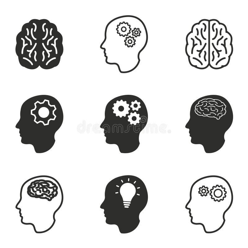 Brain icon set. royalty free illustration