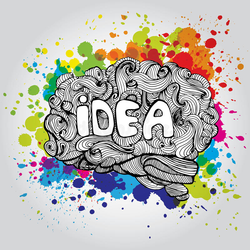 Brain Idea Illustration Conceito do vetor da garatuja sobre o cérebro humano Ilustração criativa ilustração do vetor
