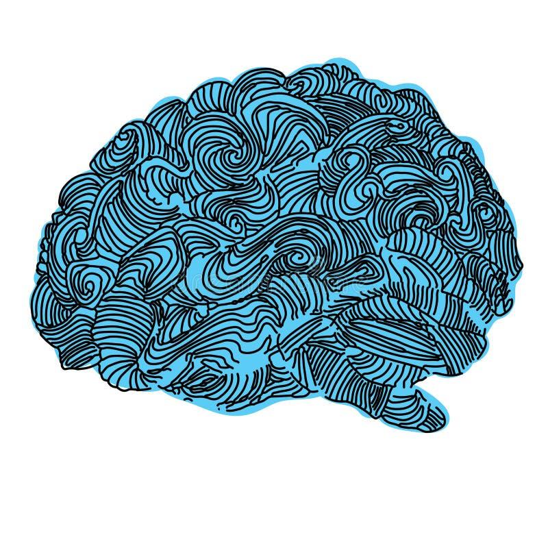 Brain Idea Illustration Concepto del vector del garabato sobre cerebro humano Ejemplo creativo stock de ilustración
