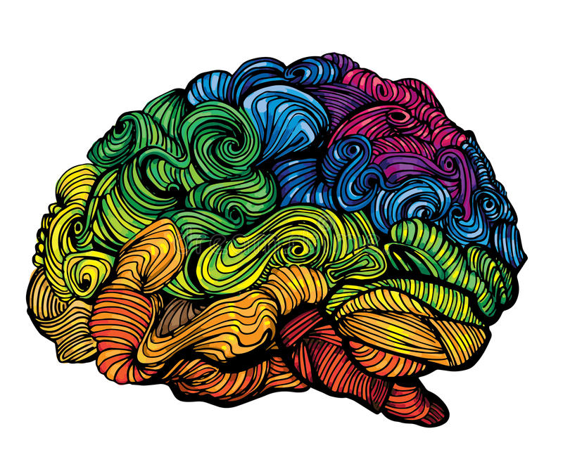 Brain Idea illustration. Doodle vector concept about human brain. Creative illustration with colored brain and grey royalty free illustration