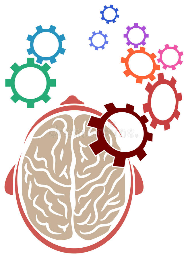 Brain. Illustrated line art Brain with gear wheels isolated image royalty free illustration