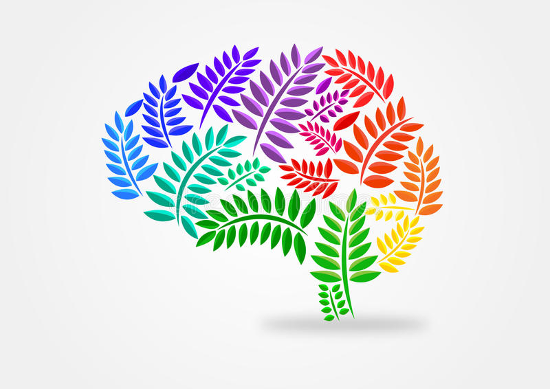 Brain illustration concept with leaves theme royalty free illustration
