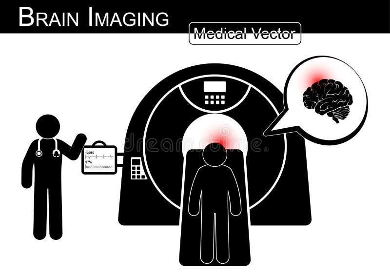 Brain Imaging Mensonge patient sur le scanner de CT pour le diagnostic de l'encéphalopathie (course hémorragique ou ischémique, t illustration de vecteur