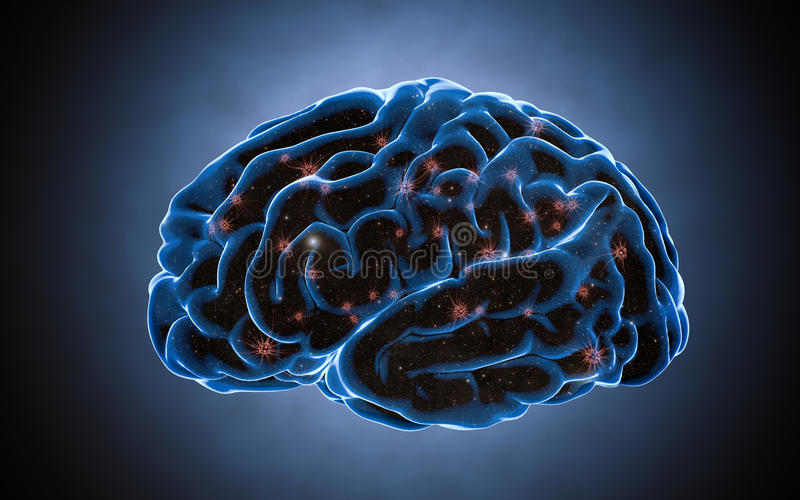 Brain impulses. Neuron system. Human anatomy. transferring pulses and generating information stock image