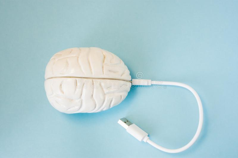 Brain with inserted in socket plug wire or charging cord. Concept technology wired transmission of data, information, knowledge in royalty free stock photos