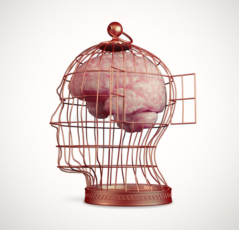 Brain inside a cage royalty free illustration