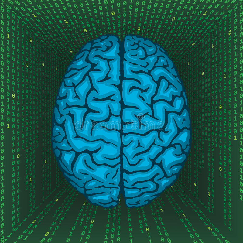 Brain inside digital matrix. royalty free illustration
