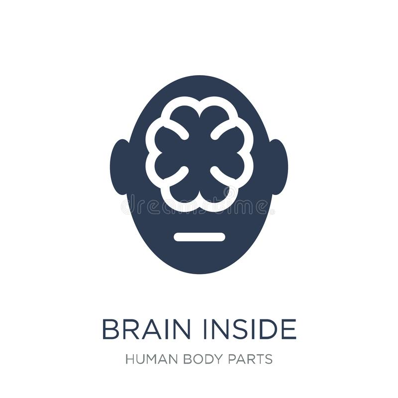 Brain inside human head icon. Trendy flat vector Brain inside human head icon on white background from Human Body Parts collection royalty free illustration