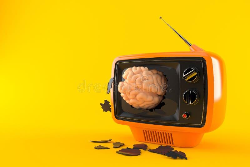 Brain inside tv set. Isolated on orange background. 3d illustration stock illustration