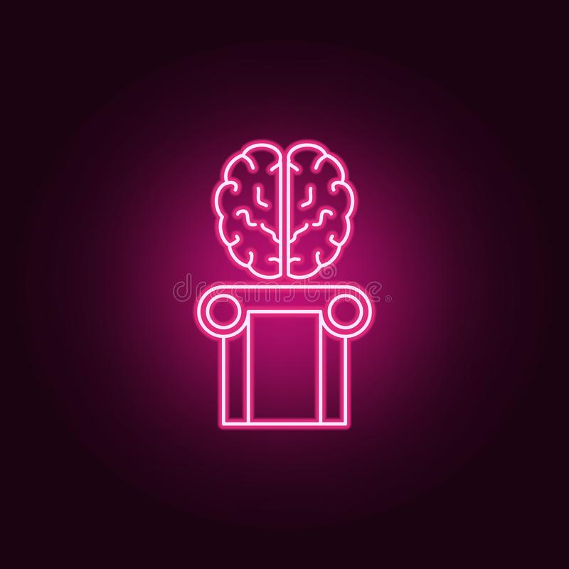 Brain intelligence, human brain icon. Elements of artifical in neon style icons. Simple icon for websites, web design, mobile app stock illustration