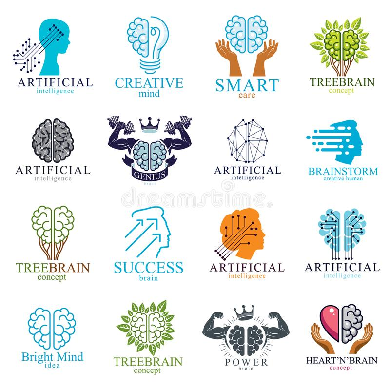 Brain and intelligence vector icons or logos concepts set. Artificial Intelligence, Bright Mind, Brain Training, Feelings soul. Versus Rational thinking vector illustration