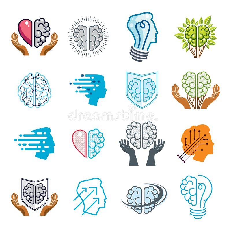 Brain and intelligence vector icons or logos concepts set. Artificial Intelligence, Bright Mind, Brain Training, Feelings soul royalty free illustration