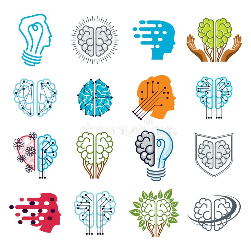 Brain and intelligence icons or logos concepts set. Artificial Intelligence, Bright Mind, Brain Training, Feelings soul vector illustration