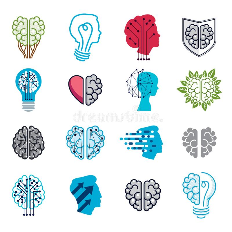 Brain and intelligence vector icons or logos concepts set. Artificial Intelligence, Bright Mind, Brain Training, Feelings soul stock illustration
