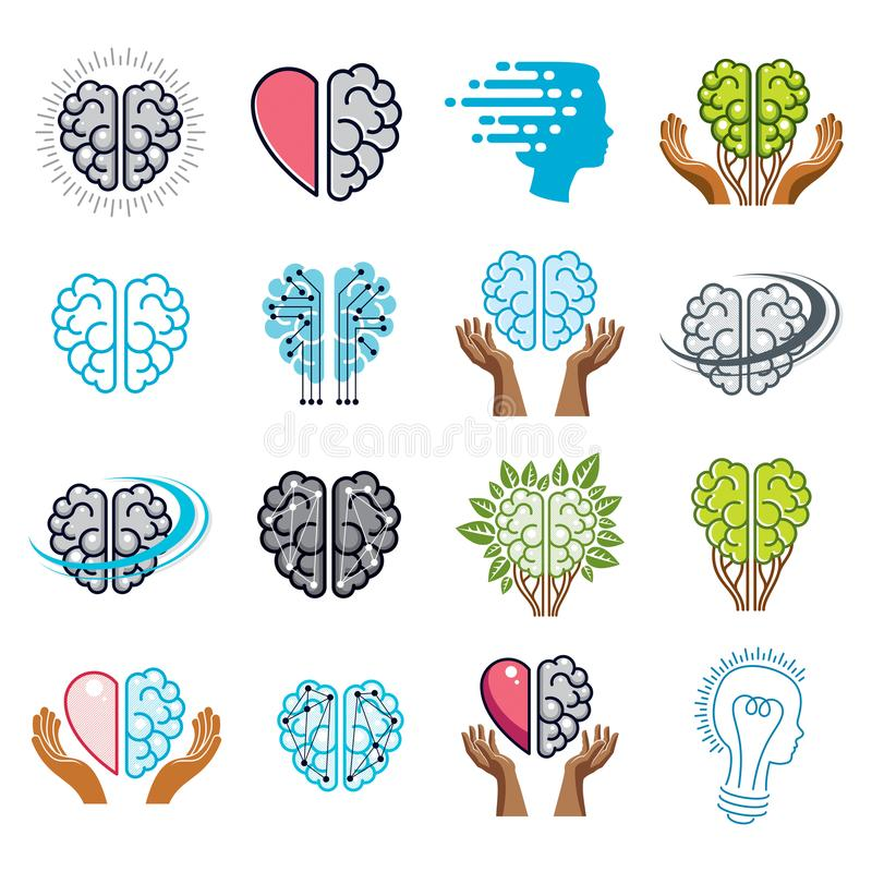 Brain and intelligence vector icons or logos concepts set. Artificial Intelligence, Bright Mind, Brain Training, Feelings soul vector illustration