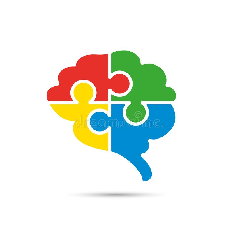 Brain and jigsaw puzzle icon royalty free illustration