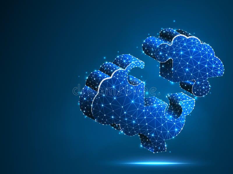 Brain Jigsaw Puzzle Neonzusammenfassung niedrige Polywissenschaft, künstlicher Intellekt, Autismus, Down-Syndrom Polygonaler Vekt stock abbildung