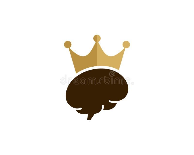 Brain King Icon Logo Design beståndsdel royaltyfri illustrationer