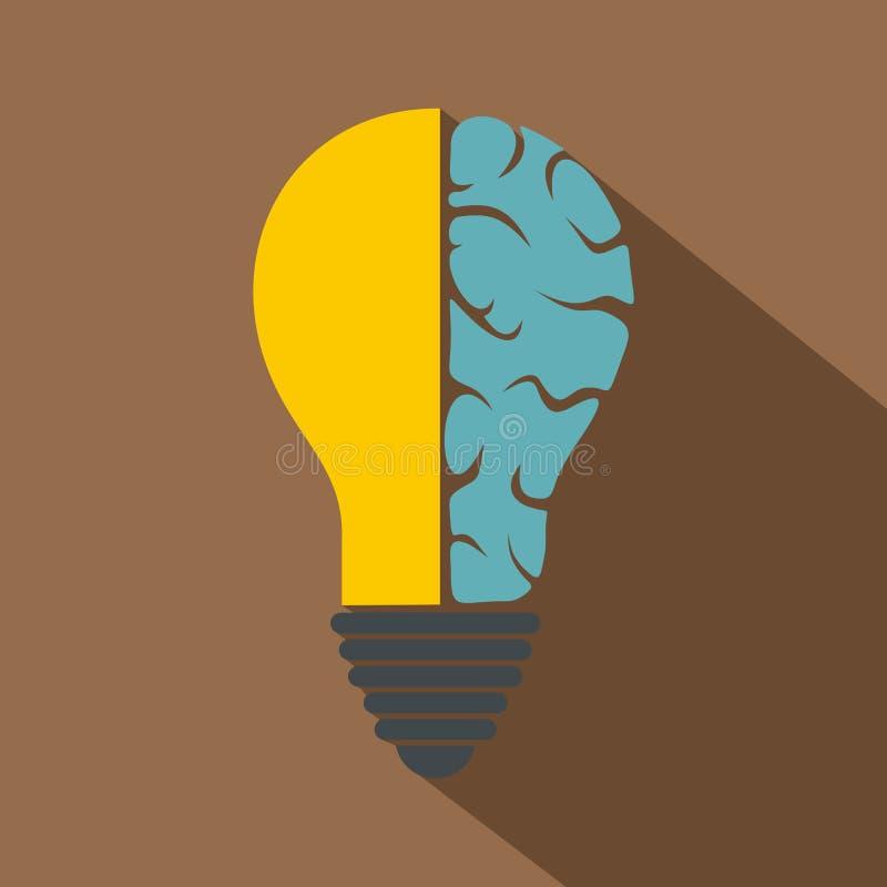 Brain Lamp Icon, Flat Style Stock Vector - Image: 90285523