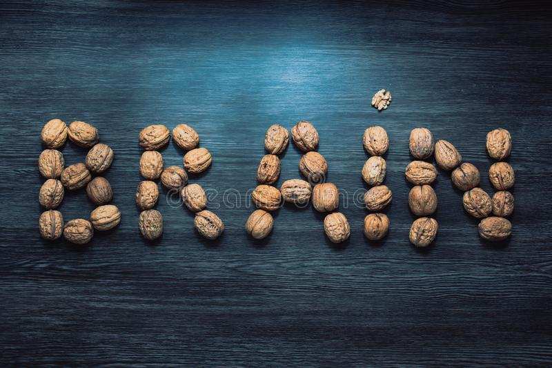 Brain letters sign made with walnuts against blue background. Brain health concept royalty free stock images