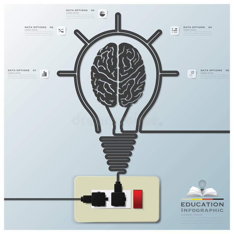 Brain Light Bulb Electric Line Education Infographic Background. Design Template royalty free illustration
