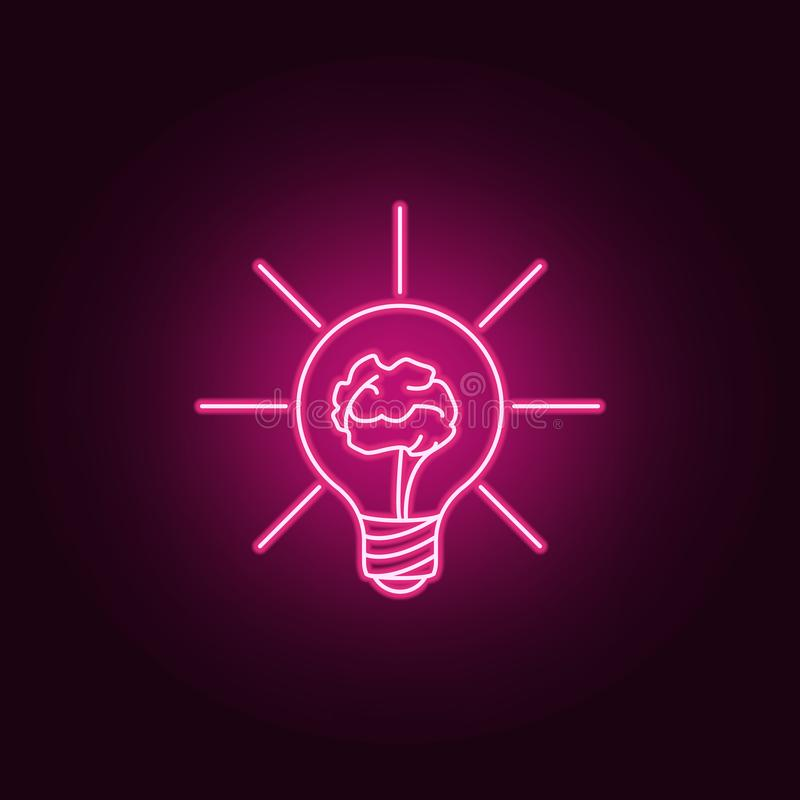 brain in a light bulb neon icon. Elements of Idea set. Simple icon for websites, web design, mobile app, info graphics royalty free illustration