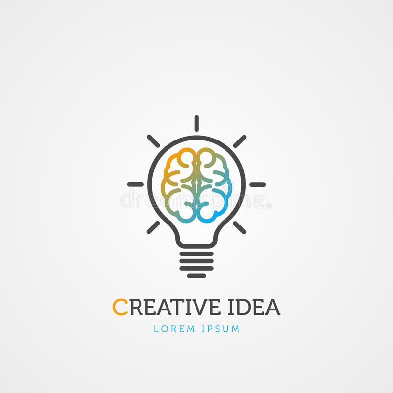 Brain light bulb symbol. Creative idea. Vector. Illustration royalty free illustration