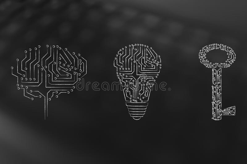 Brain lightbulb and key made of electronic circuits royalty free stock images