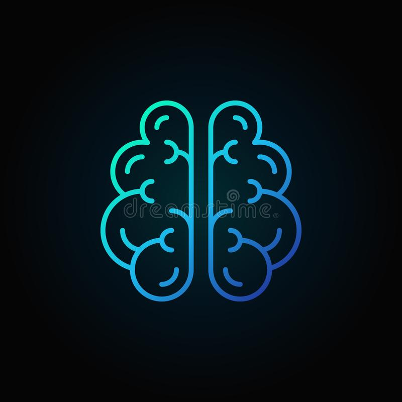 Brain line blue icon - vector intelligence concept symbol. Or design element on dark background vector illustration