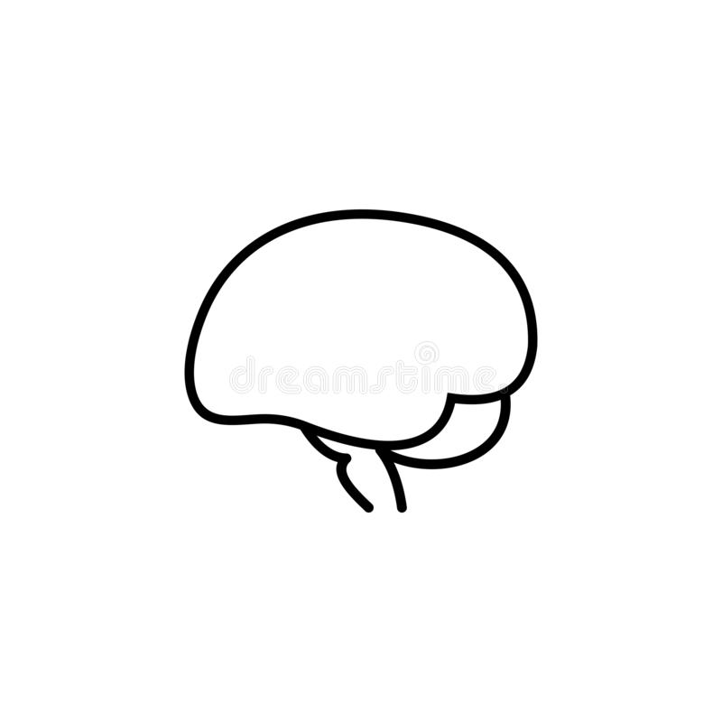 Brain linear icon, isolated pictogram human royalty free illustration