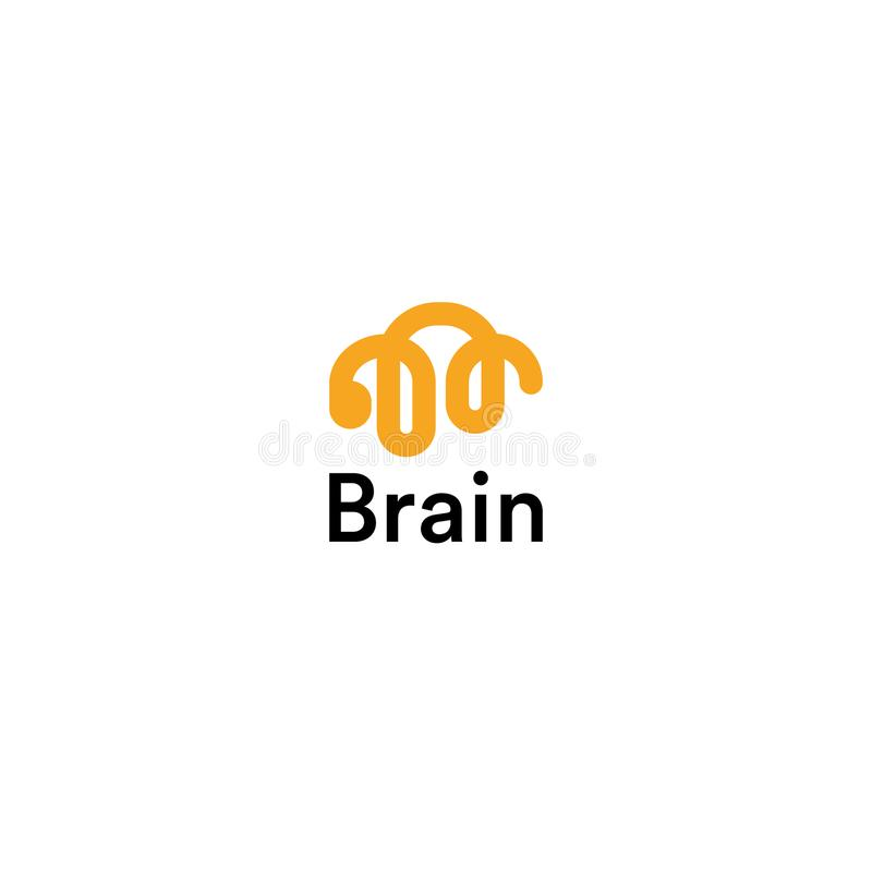 Brain Linear Logo Silhouette. Vector Design Template. Think Idea Concept. Brainstorm, Thinking brain Logotype. Lightbulb royalty free illustration