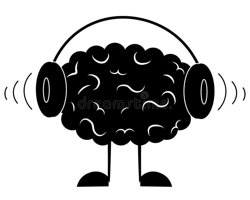 brain is listening to music vector illustration