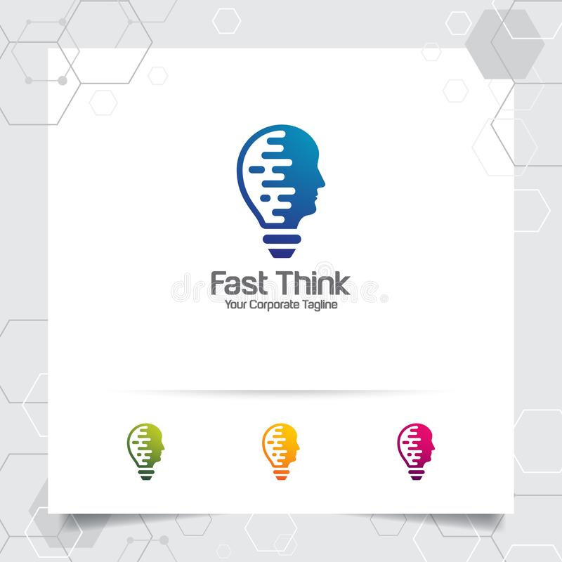 Brain logo bulb design concept of head vector and lamp icon. Smart idea logo used for studio and professional stock illustration