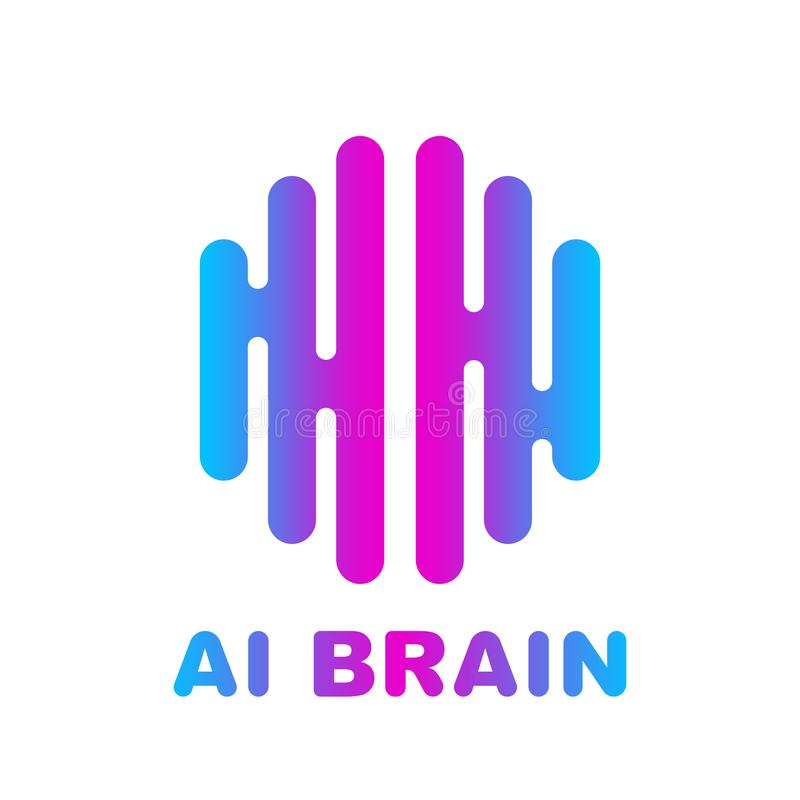 Brain Logo colored silhouette design vector template. royalty free illustration