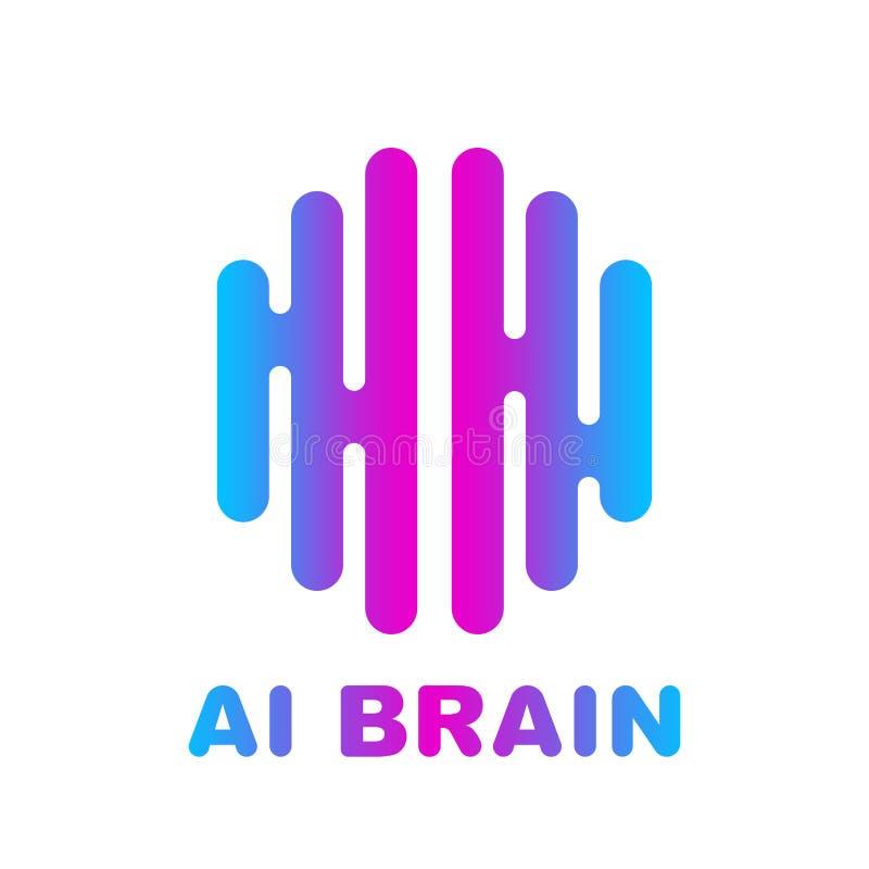 Brain Logo coloriu o molde do vetor do projeto da silhueta ilustração royalty free