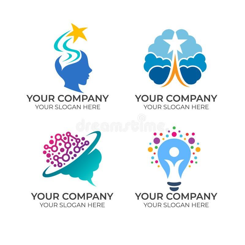 Brain Logo design royaltyfri illustrationer