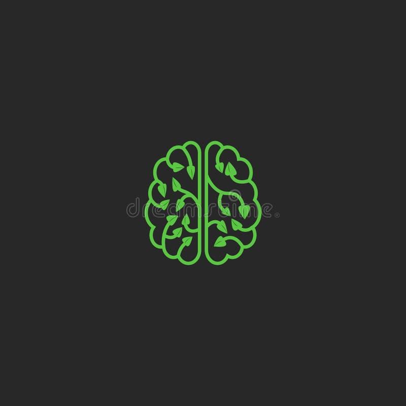 Brain logo eco creative design element. Think Idea ecology concept plant leaves. Natural technology laboratory, brainstorm. Logotype royalty free illustration