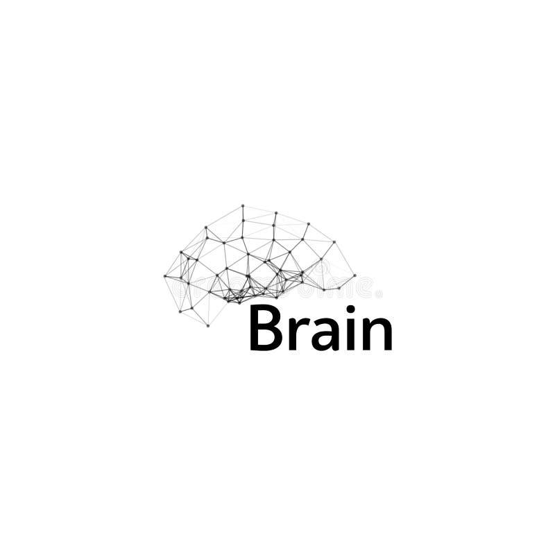 Brain Logo-het vectormalplaatje van het silhouetontwerp Denk Ideeconcept De macht van het hersenenonweer het denken logotype pict royalty-vrije illustratie
