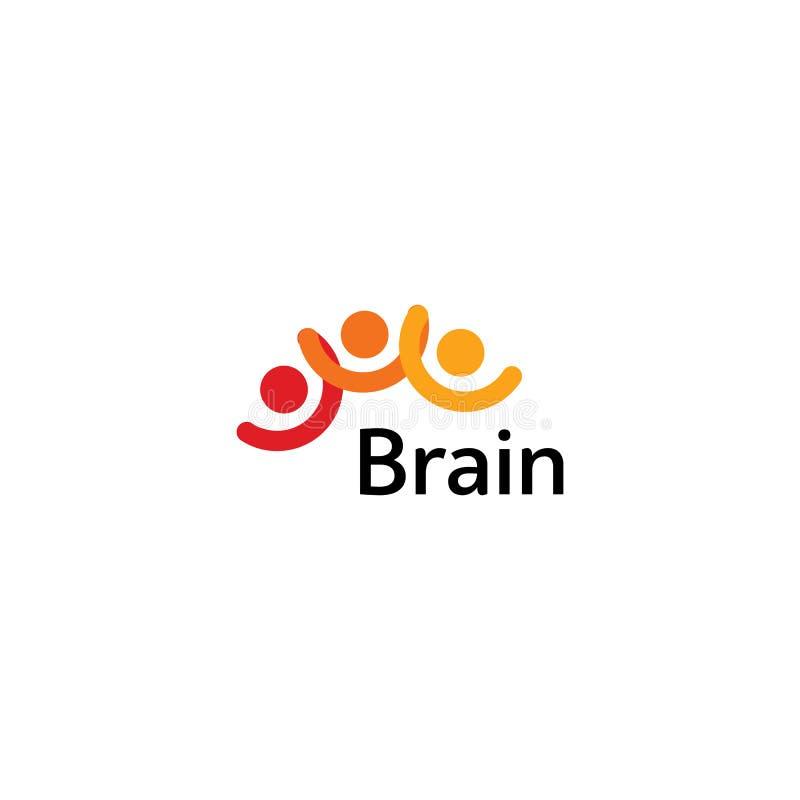 Brain Logo-het vectormalplaatje van het silhouetontwerp Denk Ideeconcept De macht van het hersenenonweer het denken logotype pict stock illustratie