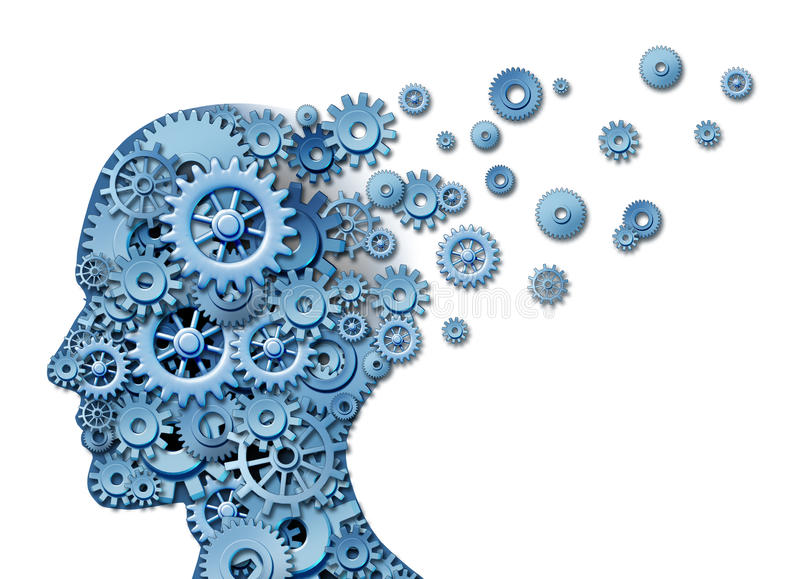 Brain Loss. And losing memory and intelligence due to neurological trauma and head injury or alzheimer disease caused by aging with gears and cogs in the shape stock illustration