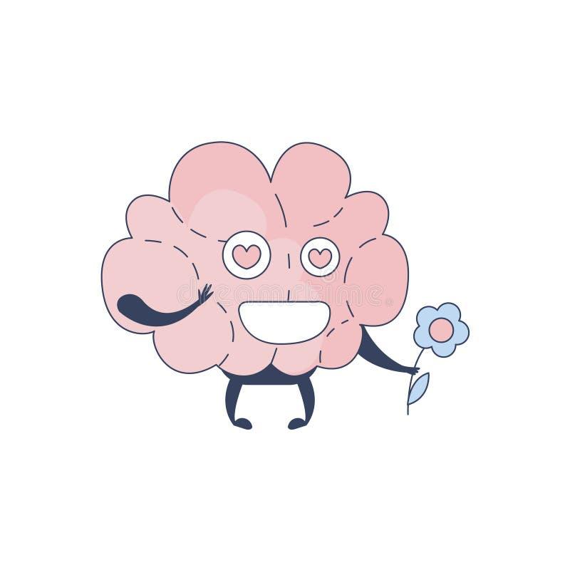 Brain In Love Comic Character som föreställer intellekt- och intellektuellaktiviteter av för tecknad filmlägenhet för mänsklig me royaltyfri illustrationer